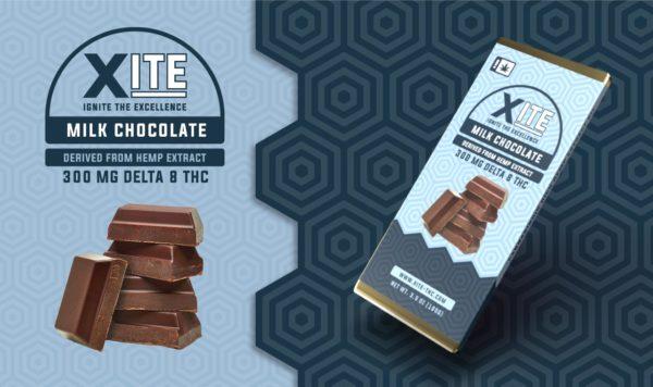 Xite Delta 8 Milk Chocolate bar label