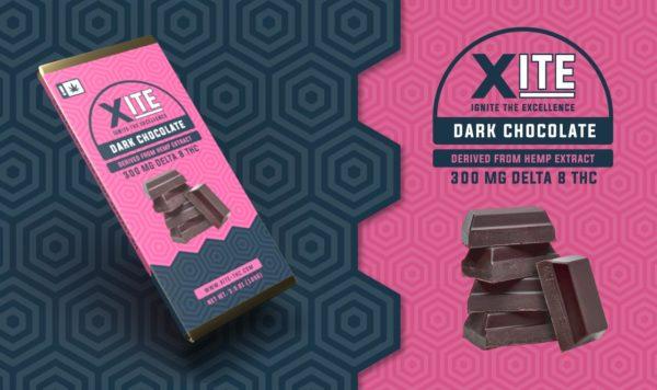 Xite Delta 8 Dark Chocolate bar label
