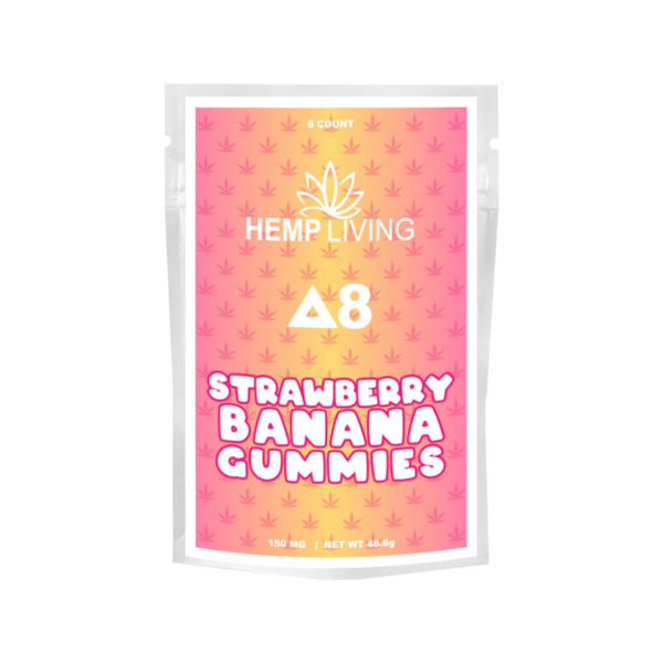 Hemp Living Delta 8 THC Gummies - 6 count strawberry banana