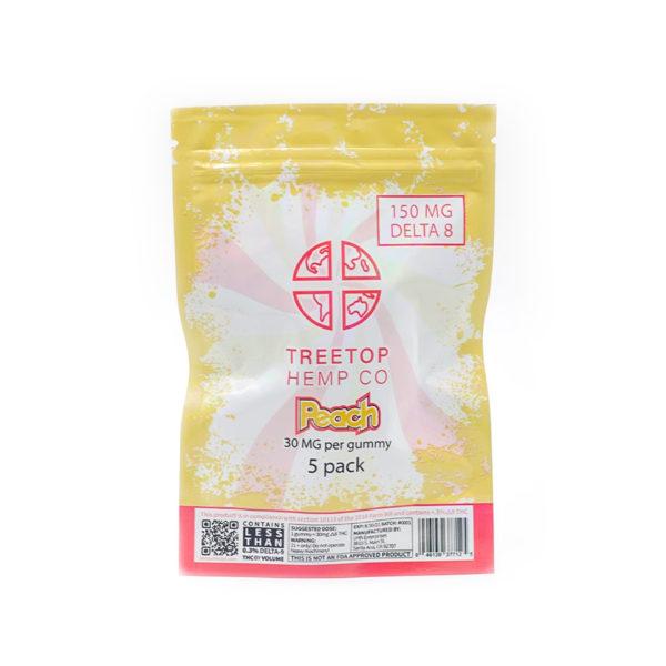 Treetop Hemp Co. Delta 8 THC Gummies 5 pack peach